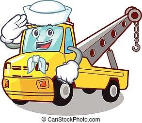 isolé, tracter corde, marin, camion, dessin animé