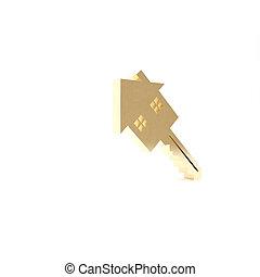 isolé, turnkey., render, icône, 3d, clã©, maison, or, illustration, arrière-plan., concept, blanc