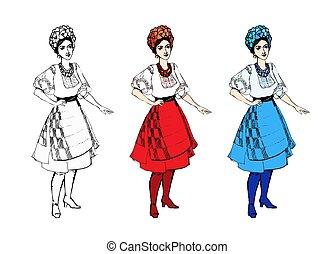 isolé, vêtements, femme, coloré, traditionnel, dessin animé, déguisement, ensemble, girl, blanc, ukrainien, noir