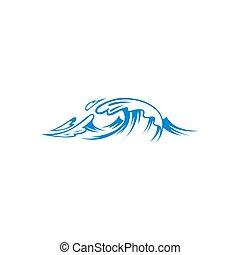 isolé, vagues océan, mer, eclabousse
