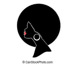 isolé, vecteur, américain africain, noir, blanc, tête, femme, silhouette., profil