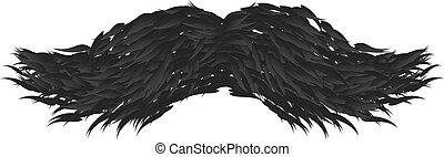 isolé, vecteur, arrière-plan noir, blanc, moustache