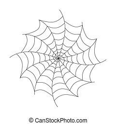 isolé, vecteur, arrière-plan noir, toile araignée, blanc