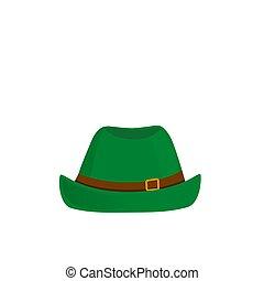 isolé, vecteur, arrière-plan vert, chapeau blanc