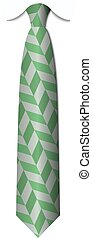 isolé, vecteur, arrière-plan vert, cravates, blanc