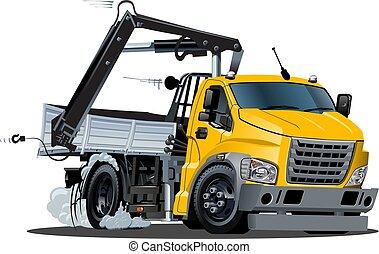 isolé, vecteur, camion, lkw, grue, dessin animé