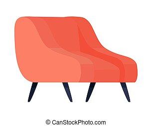 isolé, vecteur, chaise, conception, rouges