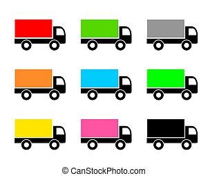 isolé, vecteur, collection., diferent, camion, set., white., expédition, cargaison, icône, couleur, livraison, illustration, fourgon, symbole.