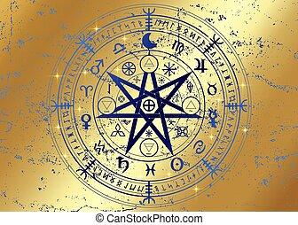 isolé, vecteur, doré, année, runes, roue, divination., la terre, symboles, signes, ou, astrologique, sorcières, ancien, symbole, zodiaque, mystique, mandala, wiccan, or, occulte, protection., wicca, fond