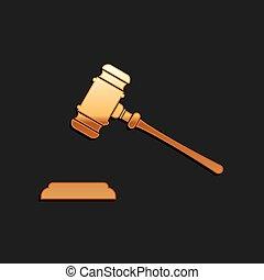 isolé, vecteur, enchère, juge, arrière-plan., or, adjudication, factures, justice, tribunal, icône, long, marteau, phrases, ombre, stand., noir, style., hammer.