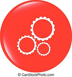 isolé, vecteur, engrenages, fond, blanc, (button), icône