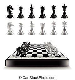isolé, vecteur, figures, planche, blanc, échecs