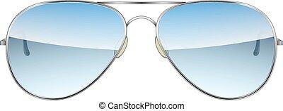 isolé, vecteur, fond, blanc, aviateur, lunettes