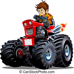 isolé, vecteur, fond, blanc, dessin animé, tracteur