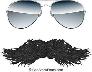 isolé, vecteur, fond, blanc, moustache, lunettes