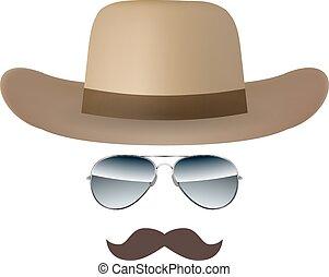 isolé, vecteur, fond, chapeau blanc, moustache, lunettes