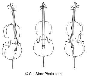 isolé, vecteur, fond, classique, violoncelle, blanc