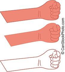 isolé, vecteur, poing serré, main, blanc, arrière-plan.