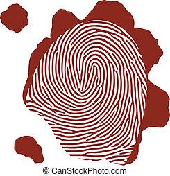 isolé, vecteur, sanguine, fond, empreinte doigt, blanc