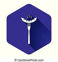 isolé, vecteur, saucisse, vapeur, blanc, hexagone, button., pourpre, shadow., arôme, illustration, fourchette, signe., grillé, long, icône