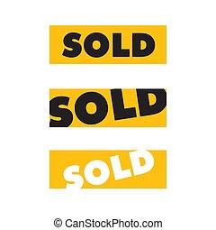isolé, vendu, autocollant jaune, carrée, blanc, signe