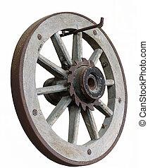 isolé, vieux, bois, roue