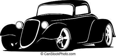 isolé, voiture, tige, vecteur, illustration, chaud, coutume, américain