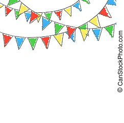 isolé, whi, buntings, multicolore, clair, guirlandes, hand-drawn