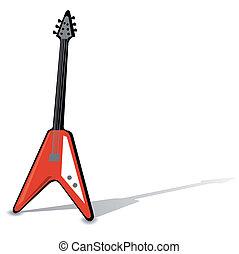 isolé, white., vecteur, guitare, électrique
