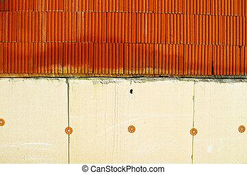 isolação, almofadas, ligado, um, parede