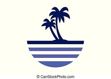 isola, arcipelago, spiaggia, astratto, logotipo, icona