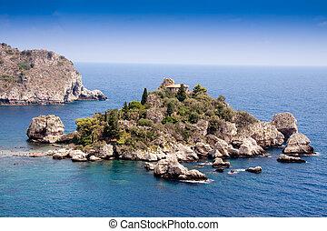 Isola Bella, beautiful island, Taormina, Sicily - Sea of...