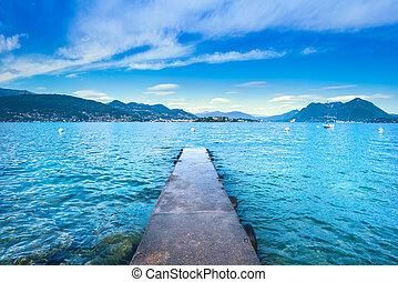 Isola Bella concrete jetty or pier in Maggiore lake, Borromean Islands, Stresa Piedmont Italy