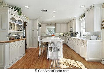isola, bianco, cucina