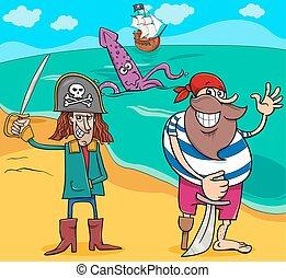 isola, cartone animato, illustrazione, pirati
