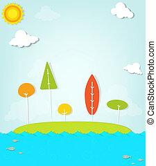 isola, colorito, albero