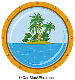 isola, finestra, palma, nave, bronzo