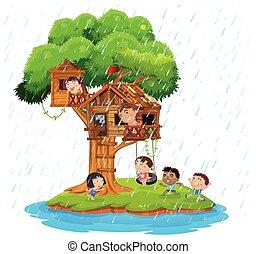 isola, gioco, treehouse, bambini