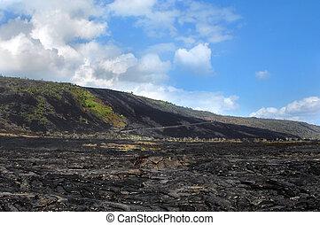 isola, grande, strada, catena, crateri