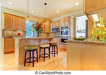 isola, sgabelli, grande, legno, lusso, acero, cucina