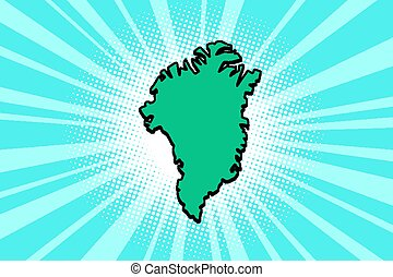 isola, silhouette, mappa, groenlandia