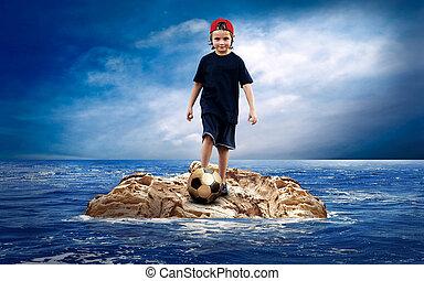 isola, soccerball, sea., bambino