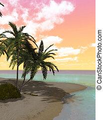 isola, sognante, deserto