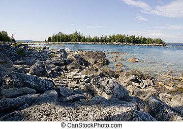 isola, spiaggia, roccioso, vista