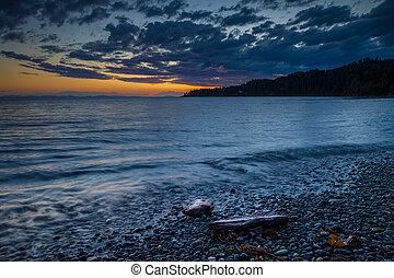 isola, spiaggia, vancouver, tramonto, sassoso