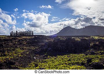 isola, statue, moais, ahu tongariki, pasqua
