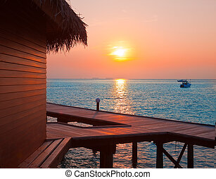 isola, tempo, sunset., oceano