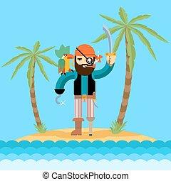 isola, tesoro, pirata