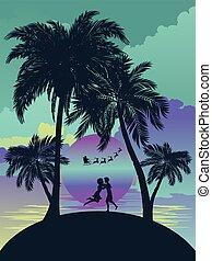isola tropicale, alba