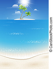 isola tropicale, in, il, mare